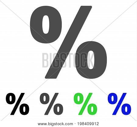 Percent flat vector icon. Colored percent, gray, black, blue, green icon variants. Flat icon style for graphic design.