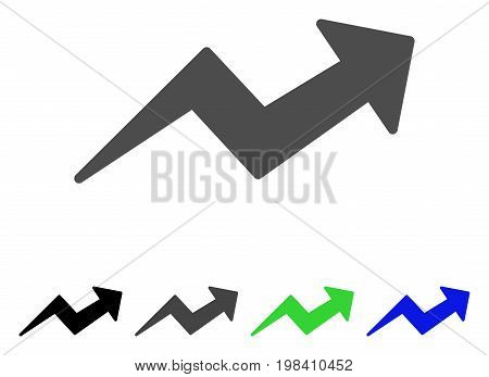 Trend Up Arrow flat vector pictogram. Colored trend up arrow, gray, black, blue, green icon variants. Flat icon style for web design.