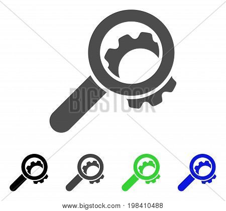 View Configuration Gear flat vector pictograph. Colored view configuration gear, gray, black, blue, green icon variants. Flat icon style for graphic design.