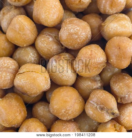 A very close view of roasted chickpeas with sea salt.