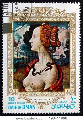 OMAN - CIRCA 1972: a stamp printed in State of Oman shows Simoneta Vespucci Painting by Piero Di Cosimo Florentine Painter circa 1972