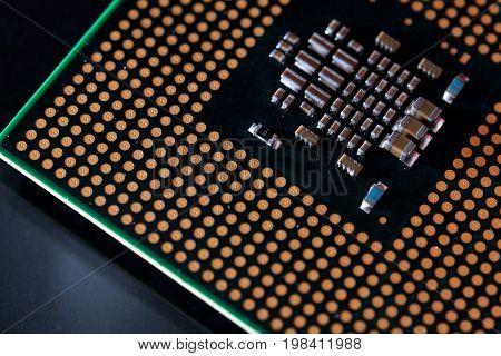 Processor on black. Computer processor close up