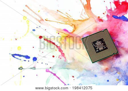 Processor on the paint. Computer processor close up