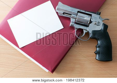 Revolver folder and photo on the table