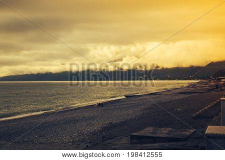 Sunset Over The Ocean. Black Sea.