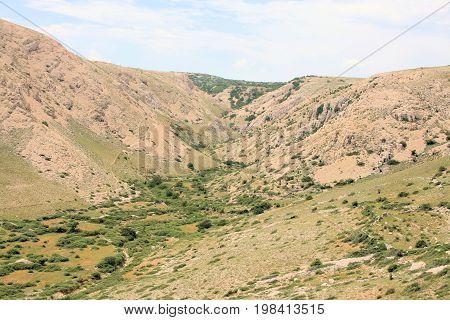 small valley hiking to Veli and Mala Luka, Baska, island Krk, Croatia