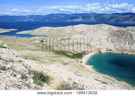 view while hiking to Veli and Mala Luka, Baska, island Krk, Croatia
