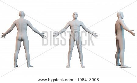 3D white human isolated on white from three sides