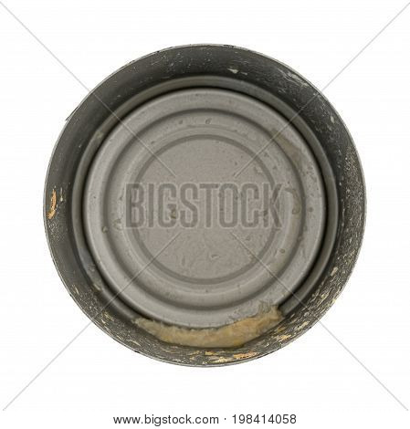 Top view of an empty tuna can isolated on a white background.