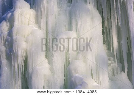 Icicles of ice in the winter of a frozen waterfall