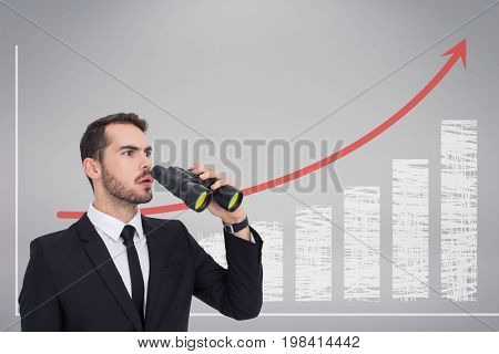 Digital composite of Confused man with binoculars against white background with infographics