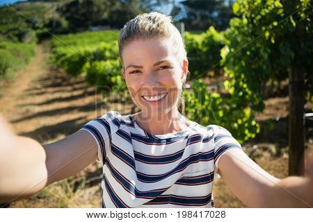 Portrait of beautiful woman posing in vineyard on a sunny day
