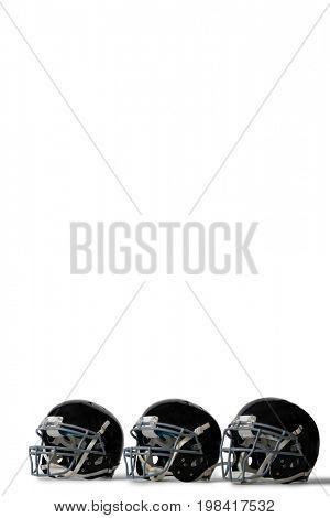 Black sports helmets arranged side by side on white background