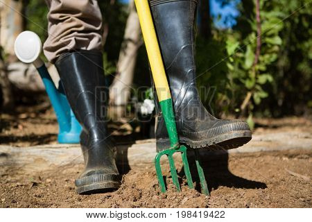 Low section of man standing with garden fork in garden on a sunny day