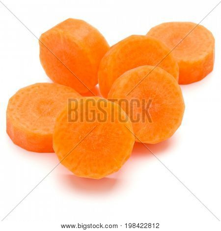 Chopped carrot slices isolated on white background cutout