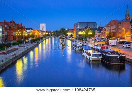 BYDGOSZCZ, POLAND - AUGUST 1, 2017: Architecture of Bydgoszcz city at Brda river in Poland. Bydgoszcz is the eighth-largest city in Poland with beautiful neo-gothic and neo-baroque architecture.