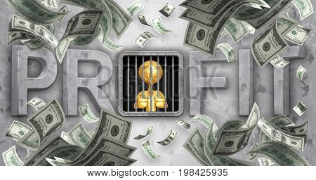 The Original 3D Character Illustration Behind Bars With The Word Profit