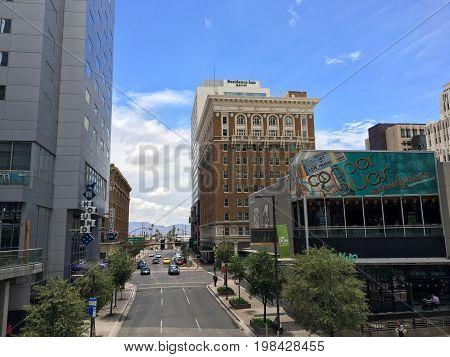 PHOENIX AZ USA - JULY 24 2017: Southward view along Central Avenue from Washington Road in capital city of Arizona