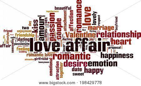 Love affair word cloud concept. Vector illustration