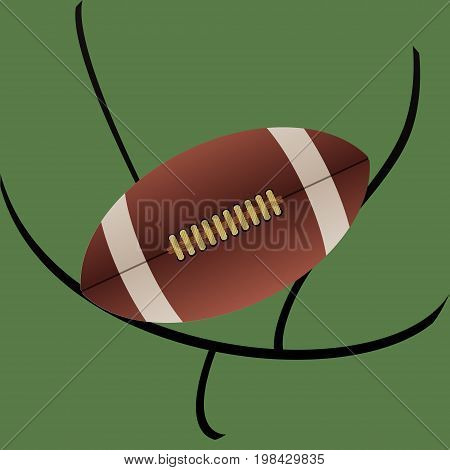 Rugby Ball American Football with Detail Over Abstract Goal and Green Background
