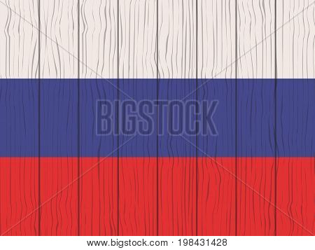 flag of Russia painted on a wooden wall