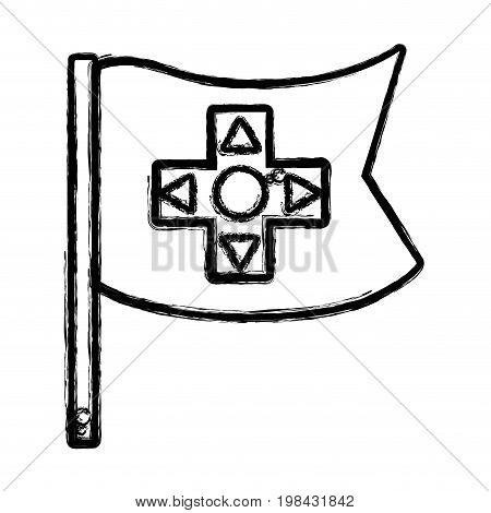 figure videogame symbol to play and videogame technology vector illustration