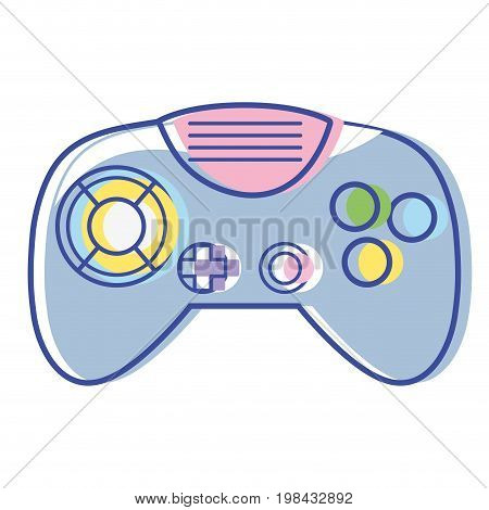 videogame controller with buttons to play in the console vector illustration