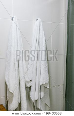 White towels hang on the wall in the bathroom.