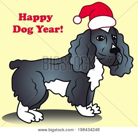 Christmas dog vector in santa hat colored illustration sketch animal