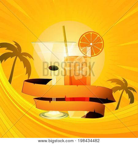 Cocktails Glasses with ice cubes and Orange Wrapped in a Vintage Banner Over Tropical Background