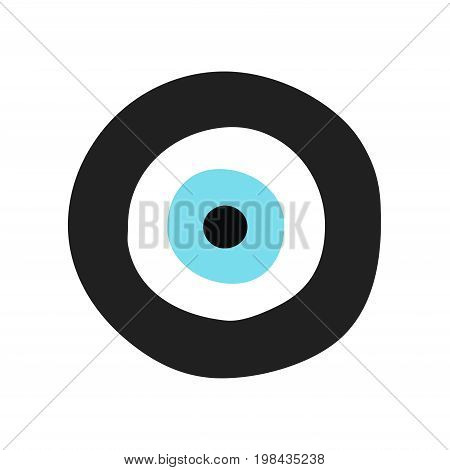 traditional greek evil eye in black and turquoise color - symbol of protection