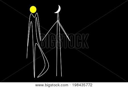 Eternal love. Unearthly love. Sun and moon. love art