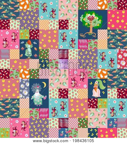 Patchwork background with cute cartoon characters for children. Apple tree, dancing monkeys, flowers, stylized vegetables and fruits.