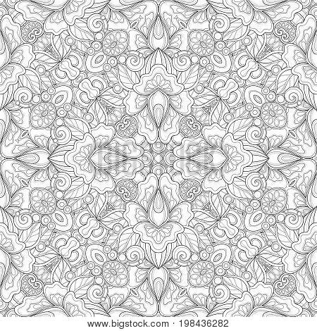 Monochrome Seamless Pattern With Mosaic Floral Motifs