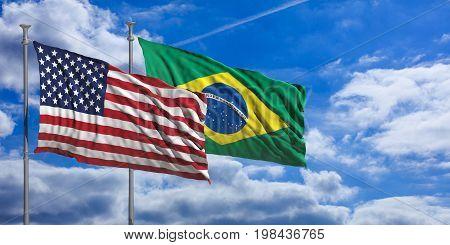 Brasil And America Waving Flags On Blue Sky. 3D Illustration