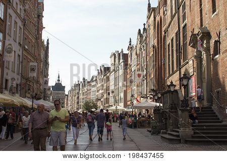 GDANSK, POLAND - AUGUST 03 2015 - the large old beautiful port city of Gdansk on the Baltic Sea a view of the bustling city cente
