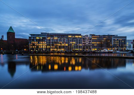 Long exposure of the Spree with a view of the historic harbor and the Märkische Ufer
