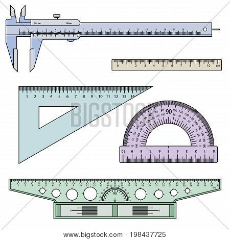 measuring instruments ruler, caliper, t-square, protractor on a white background