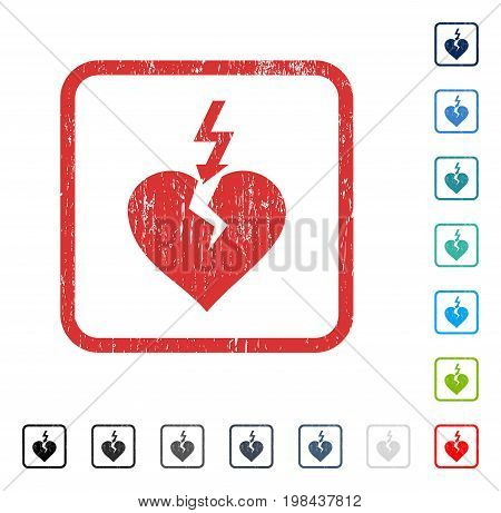 Break Heart rubber watermark in some color versions.. Vector icon symbol inside rounded rectangle with grunge design and dirty texture. Stamp seal illustration, unclean sign.