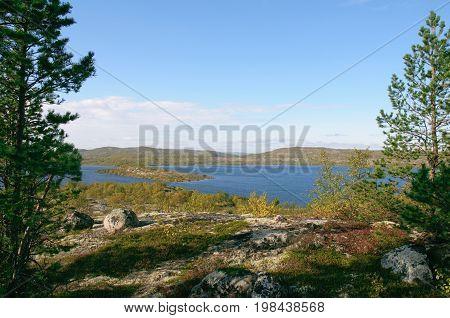 Landscape among the hills of the Kola Peninsula.