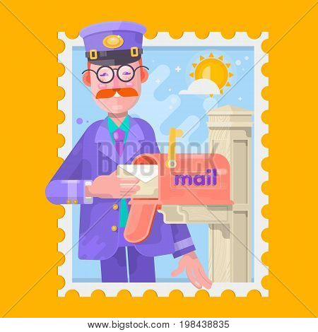 Postman In Purple Uniform Delivering Mail, Putting Letters In Mailbox. Vector illustration