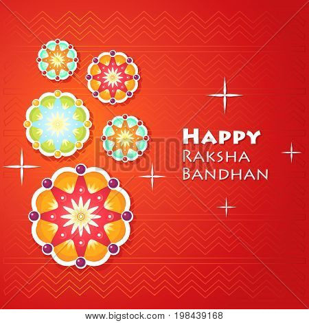 Greeting card for Raksha Bandhan with abstract geometric flowers decorations. Vector illustration.