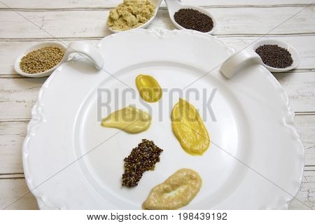 Smears Of Mustard On White China Plate With Whole And Ground Spices