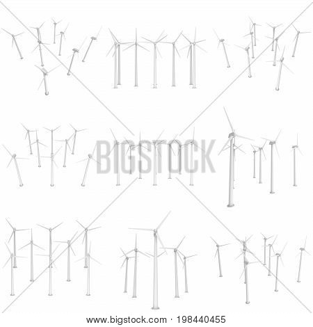 Wind turbine farm with propellers set. Windmill generators 3D render isolated on white
