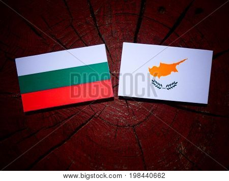 Bulgarian Flag With Cypriot Flag On A Tree Stump Isolated