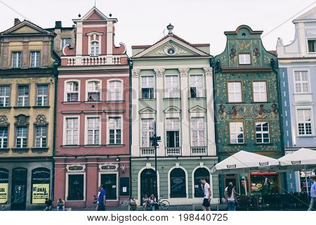 POZNAN POLAND - AUGUST 05 2015 - beautiful part of the old town main square resting place and the main tourist center of the city with unique architecture