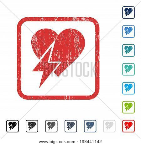 Heart Shock rubber watermark in some color versions.. Vector icon symbol inside rounded rectangle with grunge design and dust texture. Stamp seal illustration, unclean emblem.