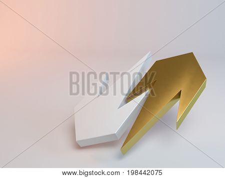 3D Rendering Of Failure And Success Concept On White
