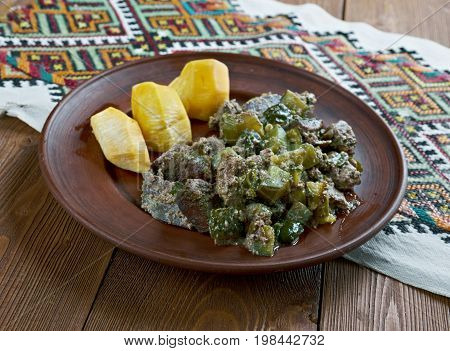 Liver Russian style with steamed turnip, , close up meal