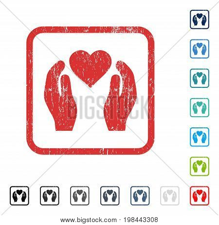 Love Care Hands rubber watermark in some color versions.. Vector pictogram symbol inside rounded rectangular frame with grunge design and dirty texture. Stamp seal illustration, unclean emblem.